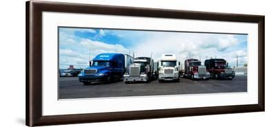 Eighteen Wheeler Vehicles on the Road--Framed Photographic Print