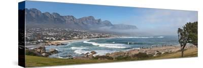 Elevated View of a Beach with Mountain Range in the Background, Twelve Apostles, Camps Bay--Stretched Canvas Print