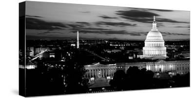 High Angle View of a City Lit Up at Dusk, Washington Dc, USA--Stretched Canvas Print