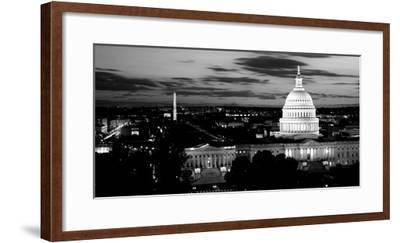 High Angle View of a City Lit Up at Dusk, Washington Dc, USA--Framed Photographic Print