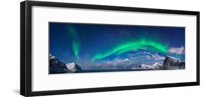 Aurora Borealis Above Flaget Bay, Lofoten, Nordland, Norway--Framed Photographic Print