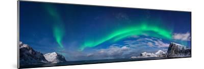 Aurora Borealis Above Flaget Bay, Lofoten, Nordland, Norway--Mounted Photographic Print