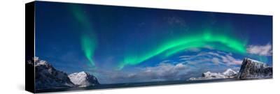 Aurora Borealis Above Flaget Bay, Lofoten, Nordland, Norway--Stretched Canvas Print