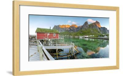 Panoramic of the Fishing Village Surrounded by Sea and Midnight Sun, Reine, Nordland County-Roberto Moiola-Framed Photographic Print