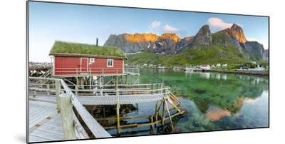 Panoramic of the Fishing Village Surrounded by Sea and Midnight Sun, Reine, Nordland County-Roberto Moiola-Mounted Photographic Print