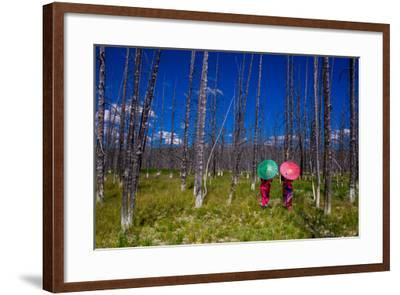 Two Girls with Parasols in Burnt Forest, Yellowstone National Park, Wyoming-Laura Grier-Framed Photographic Print