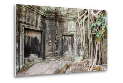 Tree Roots Growing on Ta Prohm Temple (Rajavihara) Ruins, Angkor, UNESCO World Heritage Site-Jason Langley-Metal Print