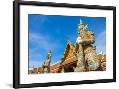 Yaksha Thotsakhirithon Statue in Front of Phra Ubosot, Temple of the Emerald Buddha (Wat Phra Kaew)-Jason Langley-Framed Photographic Print