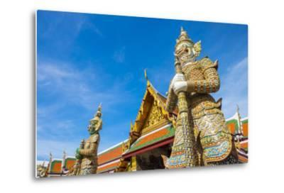 Yaksha Thotsakhirithon Statue in Front of Phra Ubosot, Temple of the Emerald Buddha (Wat Phra Kaew)-Jason Langley-Metal Print