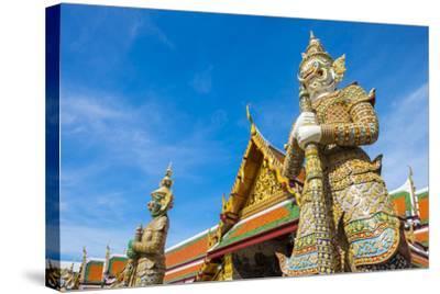 Yaksha Thotsakhirithon Statue in Front of Phra Ubosot, Temple of the Emerald Buddha (Wat Phra Kaew)-Jason Langley-Stretched Canvas Print
