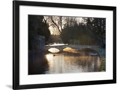 Cotswold Stone Bridge over River Windrush in Mist, Bourton-On-The-Water, Cotswolds-Stuart Black-Framed Photographic Print