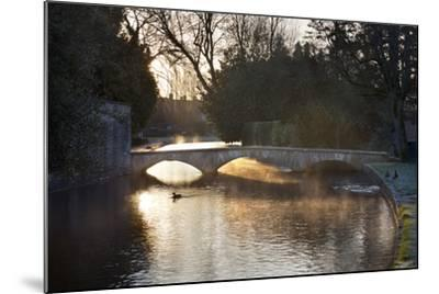 Cotswold Stone Bridge over River Windrush in Mist, Bourton-On-The-Water, Cotswolds-Stuart Black-Mounted Photographic Print