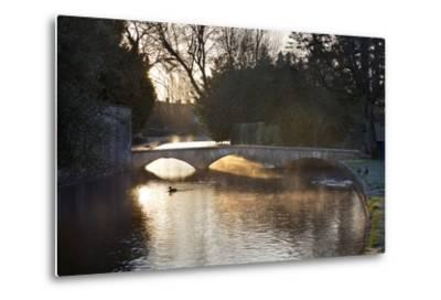 Cotswold Stone Bridge over River Windrush in Mist, Bourton-On-The-Water, Cotswolds-Stuart Black-Metal Print