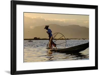 Intha Ethnic Group Fisherman, Inle Lake, Shan State, Myanmar (Burma), Asia-Nathalie Cuvelier-Framed Photographic Print