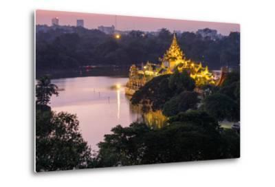 Karaweik, Kan Daw Gyi Lake and Park, Yangon (Rangoon), Myanmar (Burma), Asia-Nathalie Cuvelier-Metal Print