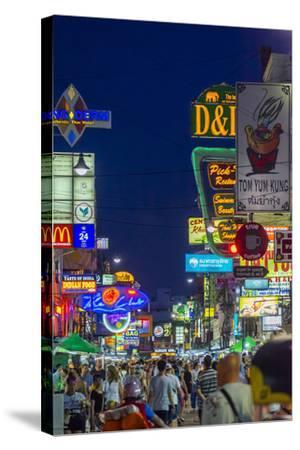 Khaosan Road at Night, Bangkok, Thailand, Southeast Asia, Asia-Jason Langley-Stretched Canvas Print