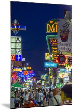 Khaosan Road at Night, Bangkok, Thailand, Southeast Asia, Asia-Jason Langley-Mounted Photographic Print
