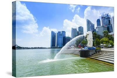 Merlion Statue, the National Symbol of Singapore and its Most Famous Landmark, Merlion Park-Fraser Hall-Stretched Canvas Print