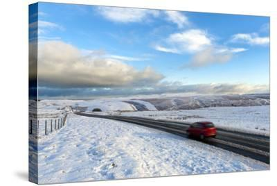 Motorists Negotiate the B4520 Road Between Brecon and Builth Wells on the Mynydd Epynt Moorland-Graham Lawrence-Stretched Canvas Print