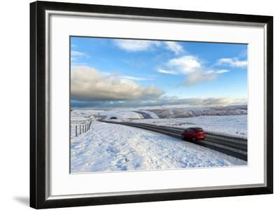 Motorists Negotiate the B4520 Road Between Brecon and Builth Wells on the Mynydd Epynt Moorland-Graham Lawrence-Framed Photographic Print