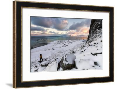 Photographer on the Snow Admires the Fishing Village under a Colorful Sky Eggum-Roberto Moiola-Framed Photographic Print