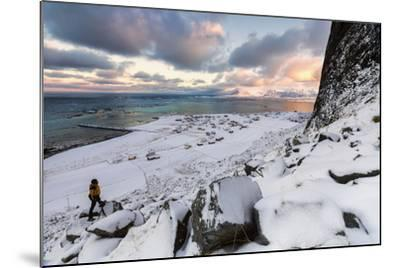 Photographer on the Snow Admires the Fishing Village under a Colorful Sky Eggum-Roberto Moiola-Mounted Photographic Print