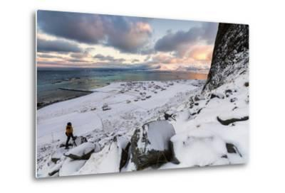 Photographer on the Snow Admires the Fishing Village under a Colorful Sky Eggum-Roberto Moiola-Metal Print