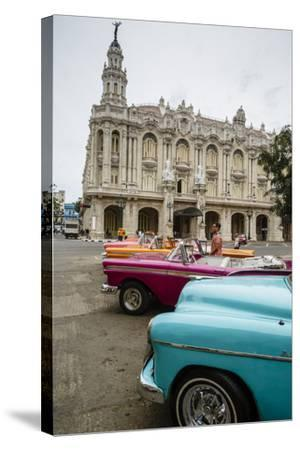 Vintage American Cars Parked Outside the Gran Teatro (Grand Theater), Havana, Cuba-Yadid Levy-Stretched Canvas Print