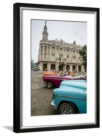 Vintage American Cars Parked Outside the Gran Teatro (Grand Theater), Havana, Cuba-Yadid Levy-Framed Photographic Print