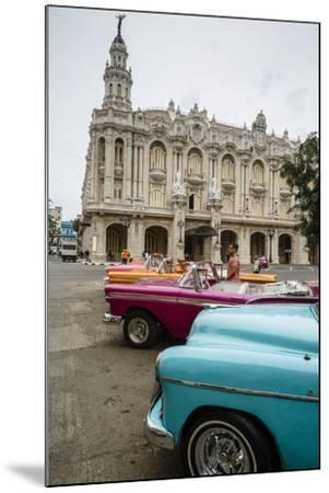 Vintage American Cars Parked Outside the Gran Teatro (Grand Theater), Havana, Cuba-Yadid Levy-Mounted Photographic Print