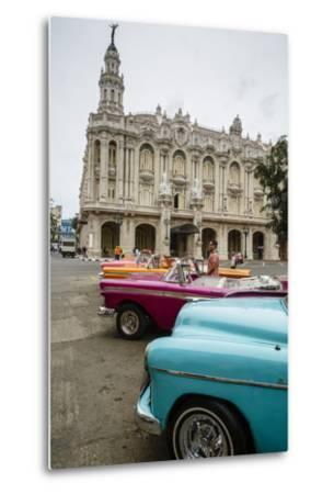 Vintage American Cars Parked Outside the Gran Teatro (Grand Theater), Havana, Cuba-Yadid Levy-Metal Print