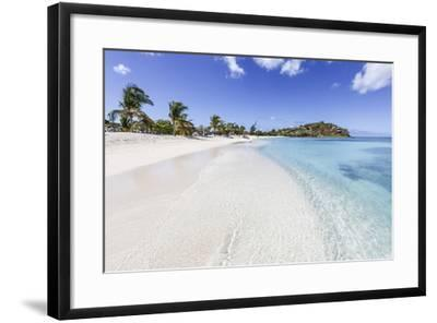 Palm Trees and White Sand Surround the Turquoise Caribbean Sea, Ffryes Beach, Antigua-Roberto Moiola-Framed Photographic Print