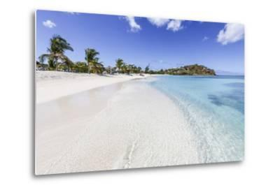 Palm Trees and White Sand Surround the Turquoise Caribbean Sea, Ffryes Beach, Antigua-Roberto Moiola-Metal Print