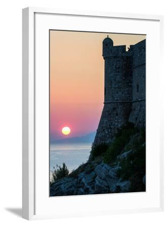 Sunset at the Walls of Old Town, Dubrovnik, UNESCO World Heritage Site, Croatia, Europe-Karen Deakin-Framed Photographic Print
