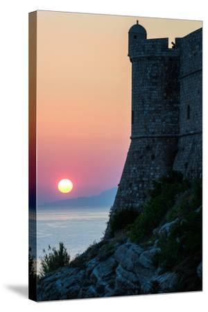 Sunset at the Walls of Old Town, Dubrovnik, UNESCO World Heritage Site, Croatia, Europe-Karen Deakin-Stretched Canvas Print