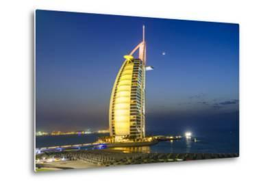 Burj Al Arab Hotel at Night, Iconic Dubai Landmark, Jumeirah Beach, Dubai, United Arab Emirates-Fraser Hall-Metal Print