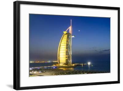 Burj Al Arab Hotel at Night, Iconic Dubai Landmark, Jumeirah Beach, Dubai, United Arab Emirates-Fraser Hall-Framed Photographic Print