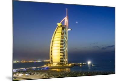 Burj Al Arab Hotel at Night, Iconic Dubai Landmark, Jumeirah Beach, Dubai, United Arab Emirates-Fraser Hall-Mounted Photographic Print