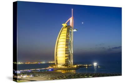 Burj Al Arab Hotel at Night, Iconic Dubai Landmark, Jumeirah Beach, Dubai, United Arab Emirates-Fraser Hall-Stretched Canvas Print
