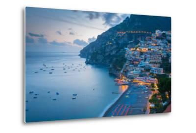 View over Positano, Costiera Amalfitana (Amalfi Coast), UNESCO World Heritage Site-Frank Fell-Metal Print