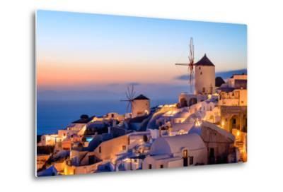 Windmill and Traditional Houses, Oia, Santorini (Thira), Cyclades Islands, Greek Islands-Karen Deakin-Metal Print