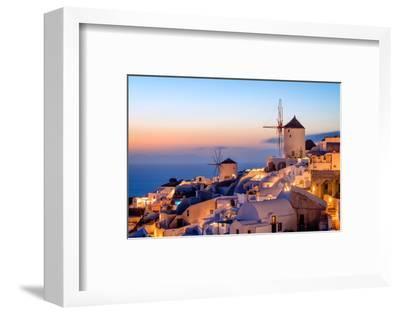 Windmill and Traditional Houses, Oia, Santorini (Thira), Cyclades Islands, Greek Islands-Karen Deakin-Framed Photographic Print