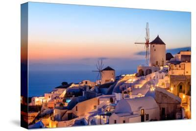Windmill and Traditional Houses, Oia, Santorini (Thira), Cyclades Islands, Greek Islands-Karen Deakin-Stretched Canvas Print