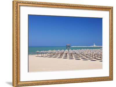 View over Spiaggia Di San Lorenzo Beach to the Lighthouse on Isola Di Sant'Eufemia Island, Vieste-Markus Lange-Framed Photographic Print