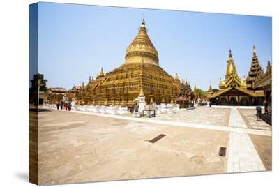 The Shwezigon Pagoda (Shwezigon Paya), a Buddhist Temple Located in Nyaung-U, a Town Near Bagan-Thomas L-Stretched Canvas Print