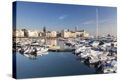 View over the Harbour to San Nicola Pellegrino Cathedral, Trani, Le Murge-Markus Lange-Stretched Canvas Print