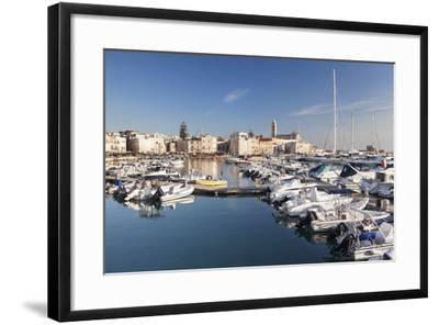 View over the Harbour to San Nicola Pellegrino Cathedral, Trani, Le Murge-Markus Lange-Framed Photographic Print