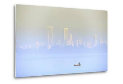 A Fisherman in Front of the Skyscrapers of the Malabar Hills in Mumbai (Bombay), Maharashtra, India-Alex Robinson-Metal Print