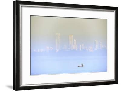 A Fisherman in Front of the Skyscrapers of the Malabar Hills in Mumbai (Bombay), Maharashtra, India-Alex Robinson-Framed Photographic Print
