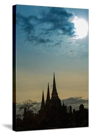 Silhouetted Chedis (Stupas), Ayutthaya, UNESCO World Heritage Site, Thailand, Southeast Asia, Asia-Alex Robinson-Stretched Canvas Print